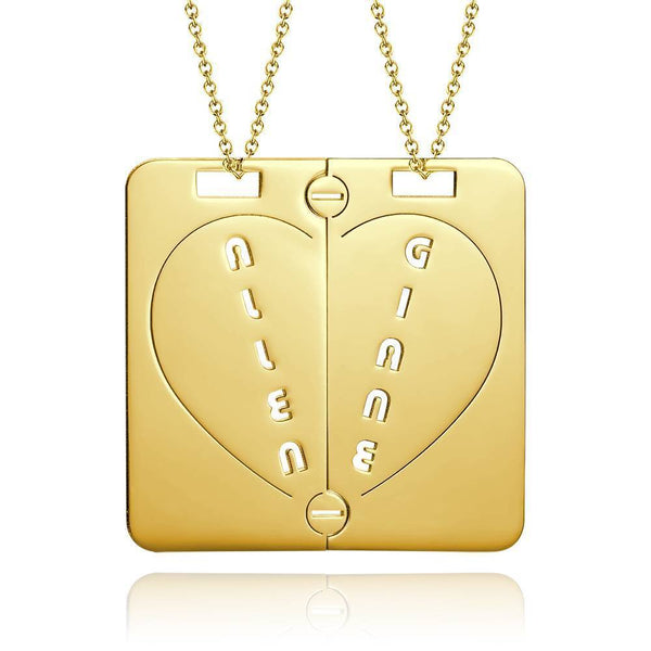 Personalized Name Necklace Couples NecklaceBroken Heart 14k Gold Plated Golden