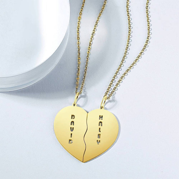 Personalized Heart Shape Couples Name Necklace 14K Gold