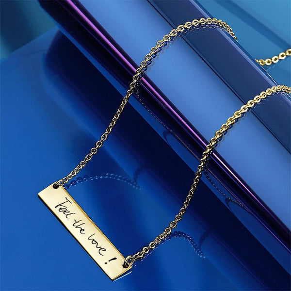 Custom Actual Handwriting Photo Necklace, Engraved Handwriting Bar Necklace Copper in 14k Gold Plated