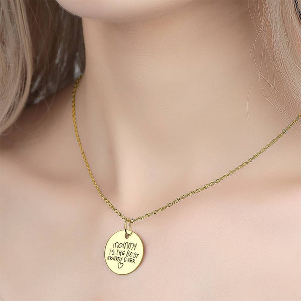 Custom Actual Handwriting Engraved Disc Necklace Copper in 14k Gold Plated