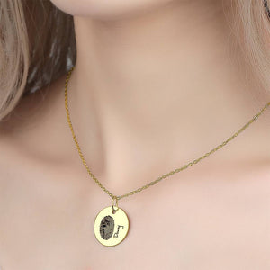 Custom Actual Fingerprint Handwriting Photo Necklace Copper in 14k Gold Plated