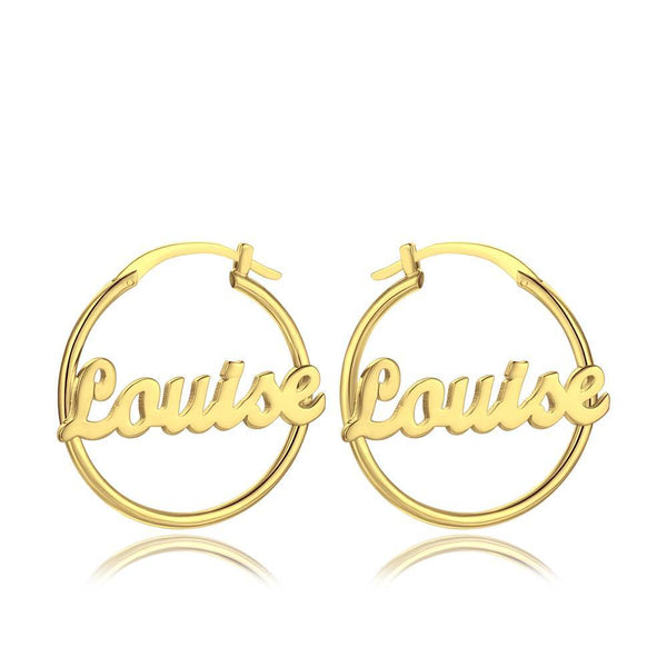 Personalized Name Earrings Unique Gifts 14K Gold Plated