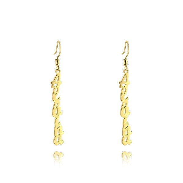 Name Earrings, Drop Earrings Silver Classic Style Unique 14K Gold Plated