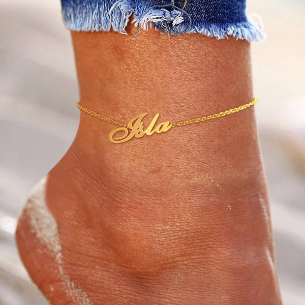 Custom Name Anklet Copper in 14k Gold Plated