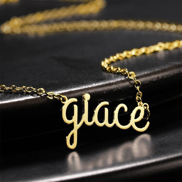 Personalized Lower Case Letter Name Necklace 14K Gold