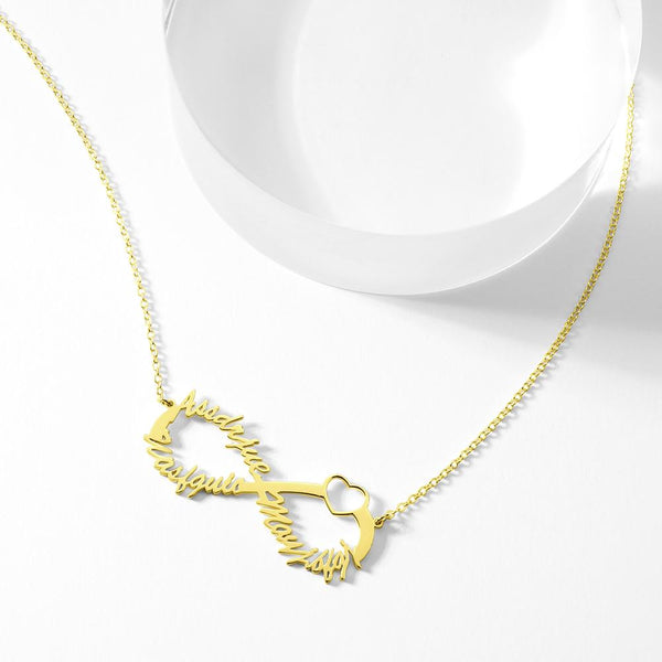 Infinity Three Name Necklace Copper in 14k Gold Plated