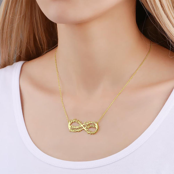 Infinity Six Name Necklace Copper in 14k Gold Plated