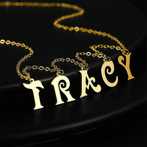 Initial Letter Name Necklace 14k Gold Plated(1-9 Letters) For Love