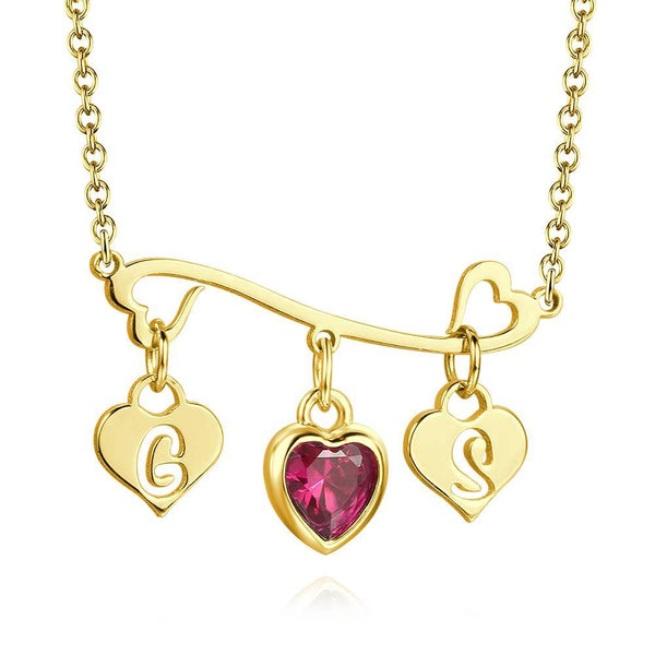 Heart-shaped Initial Birthstone Necklace Silver Plated For Her
