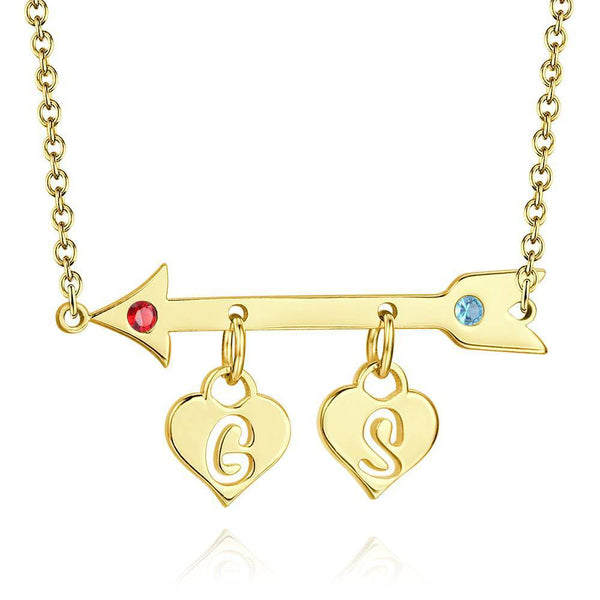 Arrow with Two Hearts Initial Birthstone Necklace 14K Gold Plated -  Love Name Necklace