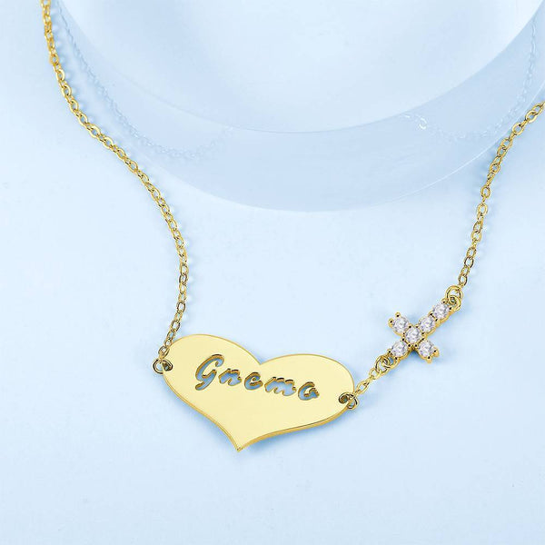 Hollow Letter with Cross Engraved Necklace 14K Gold Plated For Her