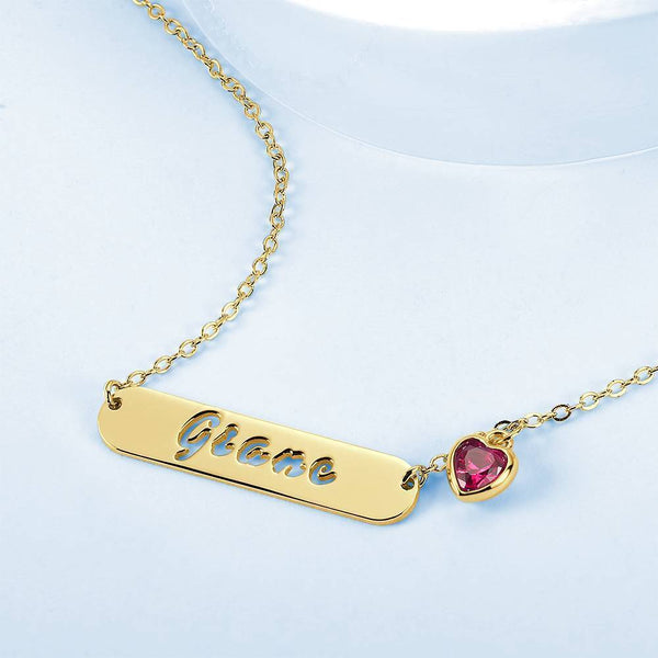 Hollow Carved Bar Name Necklace with Heart-shaped Birthstone 14K Gold Plated For Her