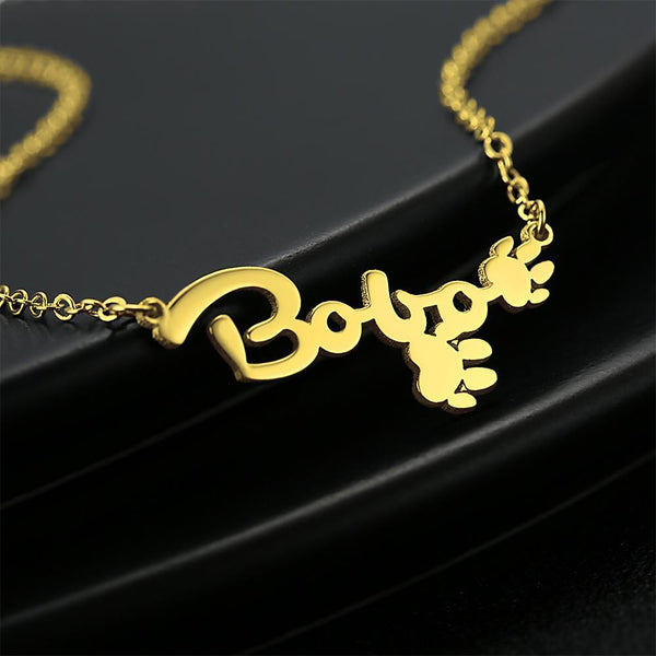Personalized Name Necklace With Cute Footprint 14K Gold Plated