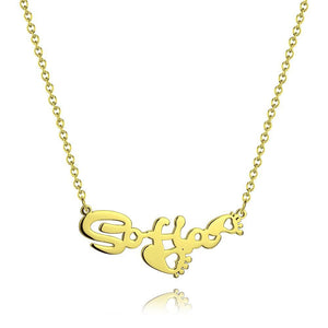 Personalized Name Necklace With Heart Footprint 14K Gold Plated