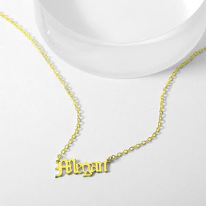 Personalized Old English Name Necklace Best Gifts 14K Gold Plated For Love