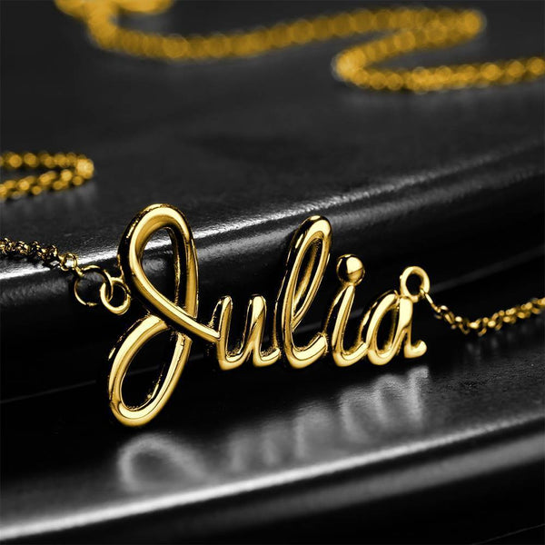 Personalized Classic Julia Name Necklace 14K Gold For Her