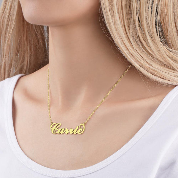 Personalized  Custom Big Statement Large Name Necklace 14k Gold Plated Golden