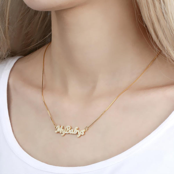 Personalized Name Neckalce Shining Zircon Stone Necklace in 14k Gold Plated For Her