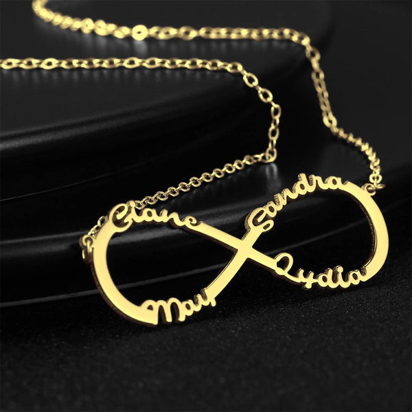 PersonalizedInfinity Four Name Necklace Copper in 14k Gold Plated