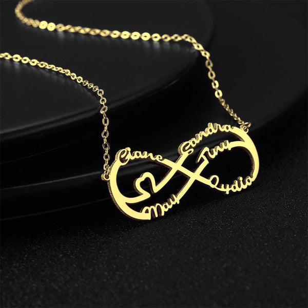 Personalized Infinity Heart Five Name Necklace Copper in 14k Gold Plated