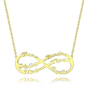 Personalized Infinity Six Name Necklace Copper in 14k Gold Plated