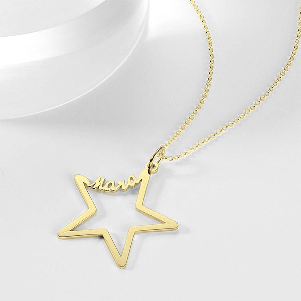 Personality Name Necklace Star Shaped 14K Gold Plated