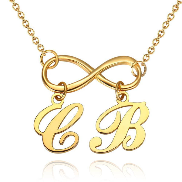 Personalized Infinity Love Two Name Initial Letter Necklace