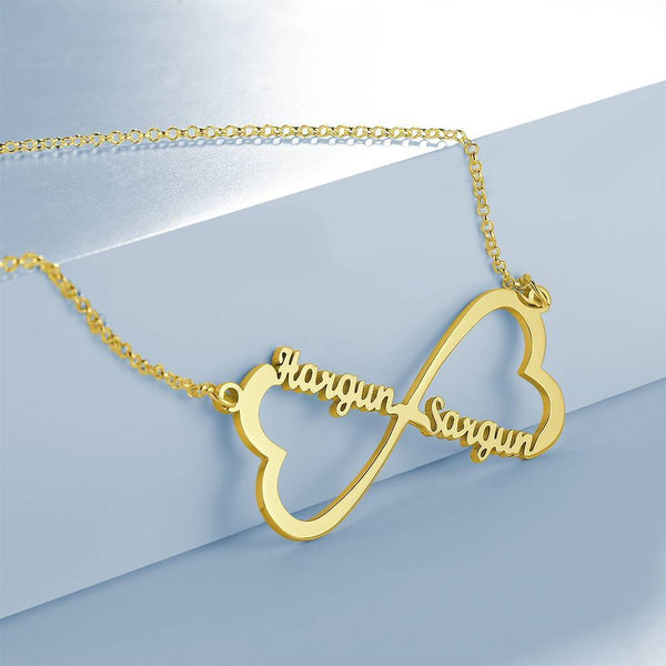 Personalized Two Heart Infinity Name Necklace Copper in 14K Gold