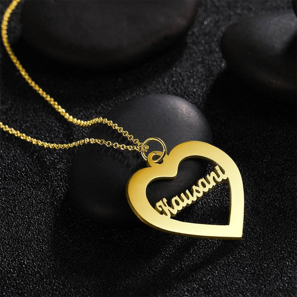 Personalized Love Shape Personality Name Necklace Copper in 14K Gold