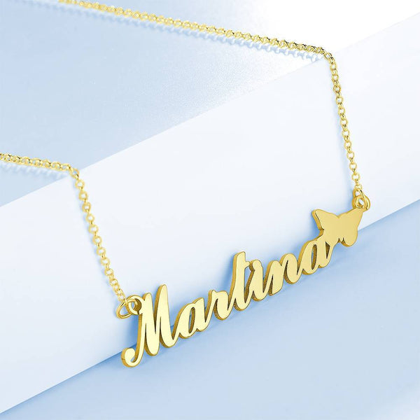 Personality Butterfly Name Necklace Copper in 14K Gold For Girlfriend
