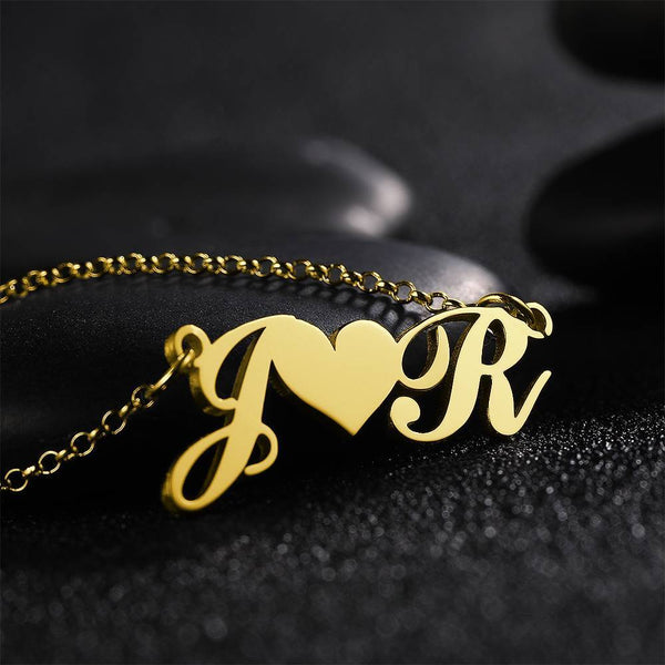 Two Name Initial Letter Necklace Copper in 14K Gold