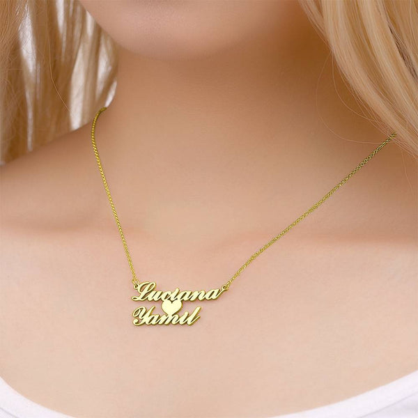 Personalized Two Name Necklace with Heart Copper in 14K Gold
