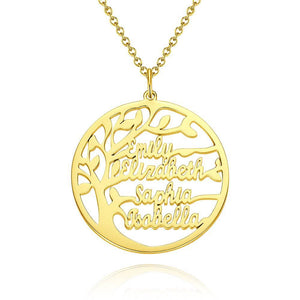 Family Tree Name Necklace 14K Gold Plated