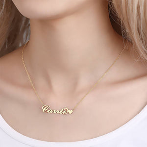Carrie Style Name Necklace with Little Heart Unique Gift 14K Gold Plated