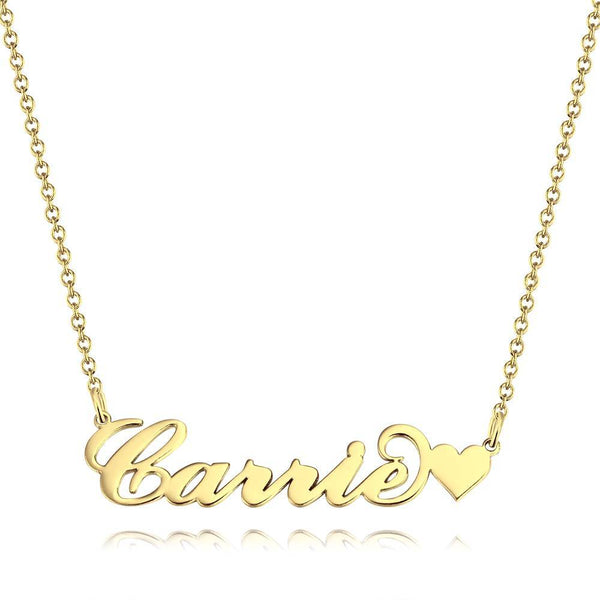 Carrie Style Name Necklace with Little Heart Platinum Plated Silver