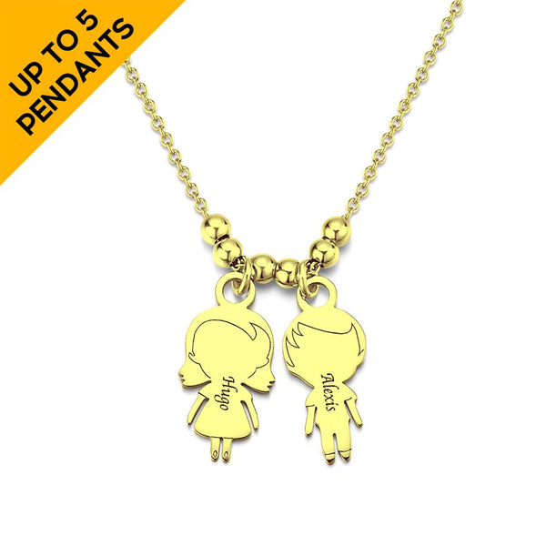 Personalized Mother Necklace with Cartoon Children Charm 14k Gold Plated
