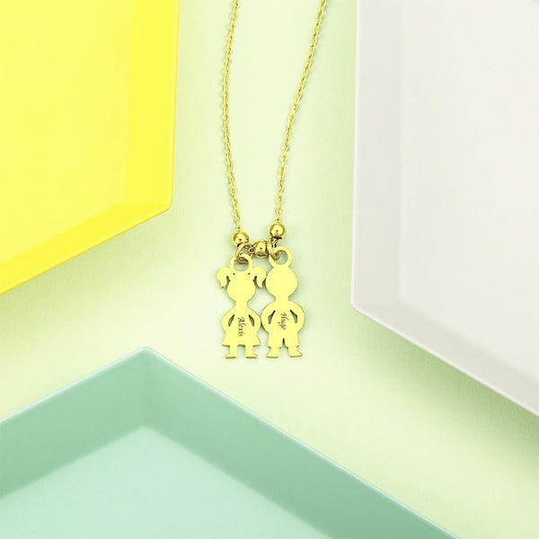 Personalized Necklace with 2 Children Charm for Mom 14k Gold Plated