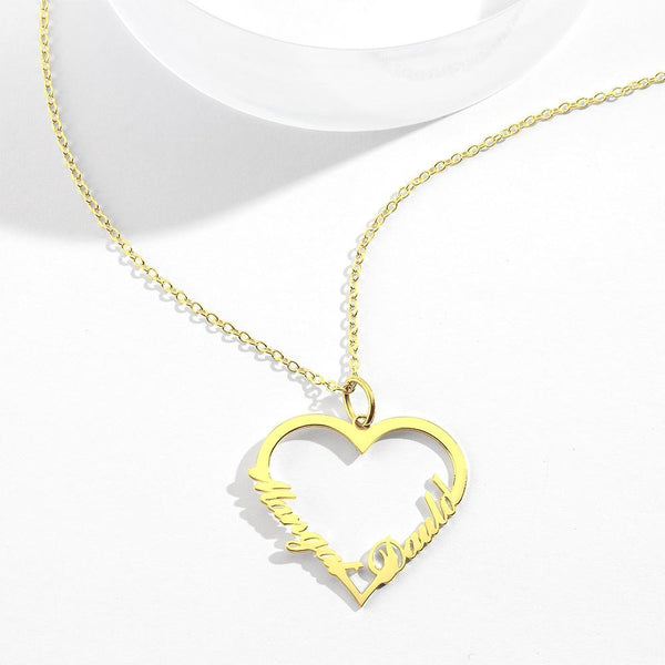 Custom Heart shaped Two Name Necklace Perfect Gifts 14K Gold For Her