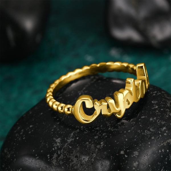 Name Rings for Women Copper 14K Gold Plated