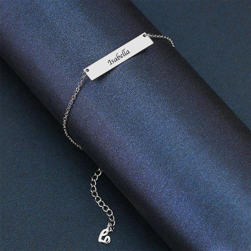 Custom Children's Engraved Bar Anklet Platinum Plated - Length Adjustable