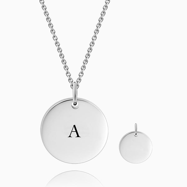 Initial Coin Necklace With Engraving