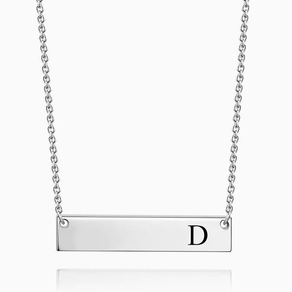 Initial Bar Necklace With Engraving