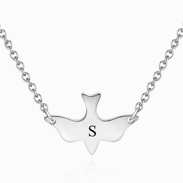 Initial Bird Engraved Necklace