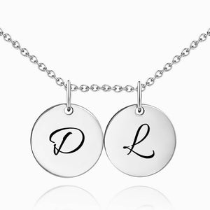 Initial Disc Engraved Necklace