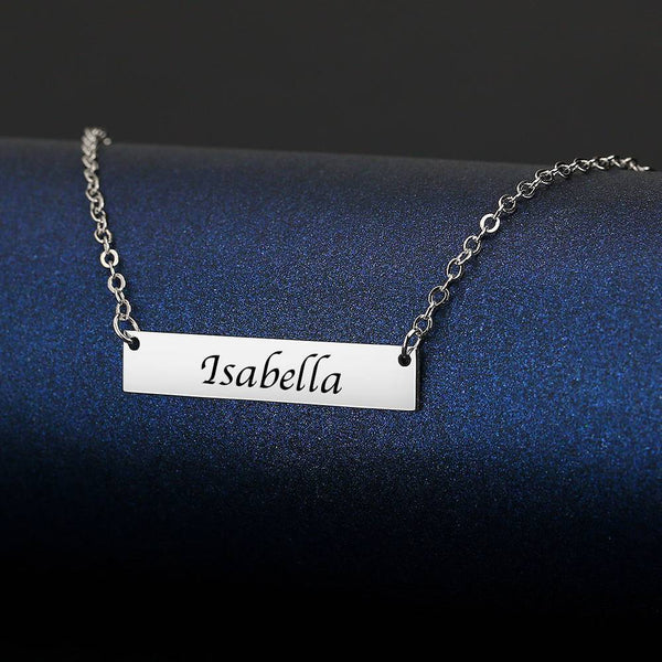 Personalized Gift Children's Engraved Bar Necklace Platinum Plated