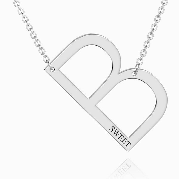 Engraved Alphabet B Initial Necklace Platinum Plated