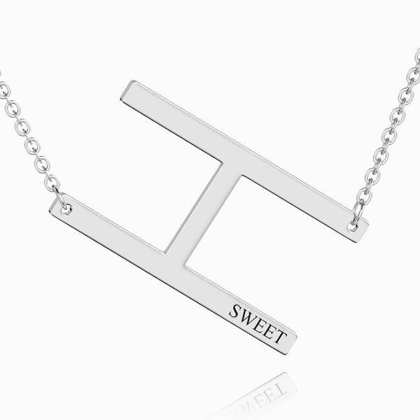 Engraved Alphabet H Initial Necklace Platinum Plated