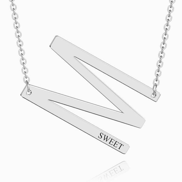 Engraved Alphabet M Initial Necklace Platinum Plated