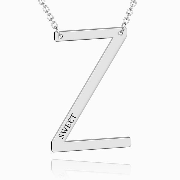 Engraved Alphabet Z Initial Necklace Platinum Plated