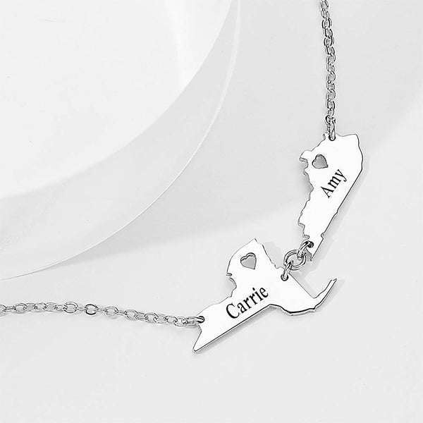 Engraved State Name Necklace For Her